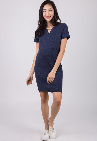 Blue Nelya Ribbed Knit Nursing Dress