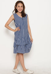 Ruffles No Doubt Nursing Dress in Blue  by Jump Eat Cry - Maternity and nursing wear
