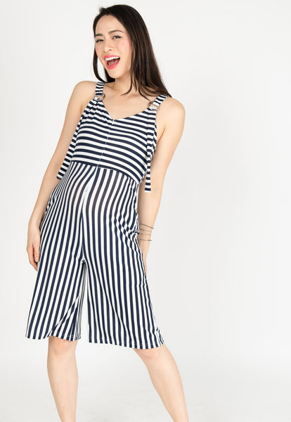 Yesterday's Best Stripes Nursing Jumpsuit in Blue