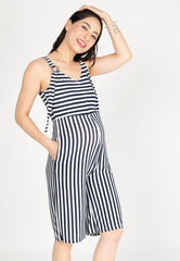 Yesterday's Best Stripes Nursing Jumpsuit in Blue  by Jump Eat Cry - Maternity and nursing wear