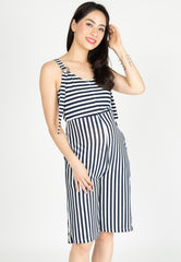 Yesterday's Best Stripes Nursing Jumpsuit in Blue Nursing Wear Mothercot