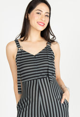 Yesterday's Best Stripes Nursing Jumpsuit in Black Nursing Wear Mothercot