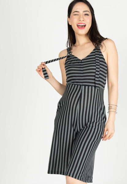 Yesterday's Best Stripes Nursing Jumpsuit in Black