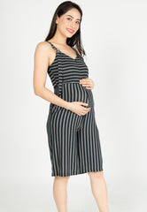 Yesterday's Best Stripes Nursing Jumpsuit in Black  by Jump Eat Cry - Maternity and nursing wear