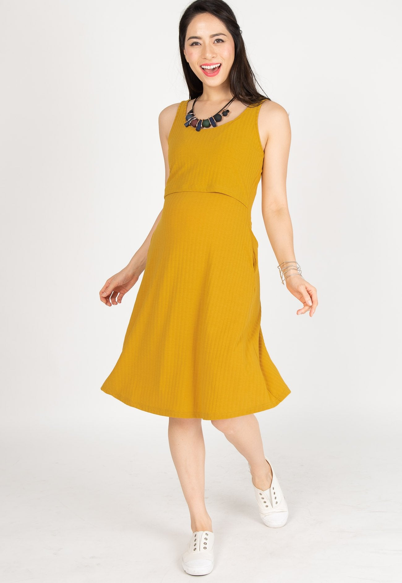 Knitted Nursing Swing Dress in Yellow  by Jump Eat Cry - Maternity and nursing wear