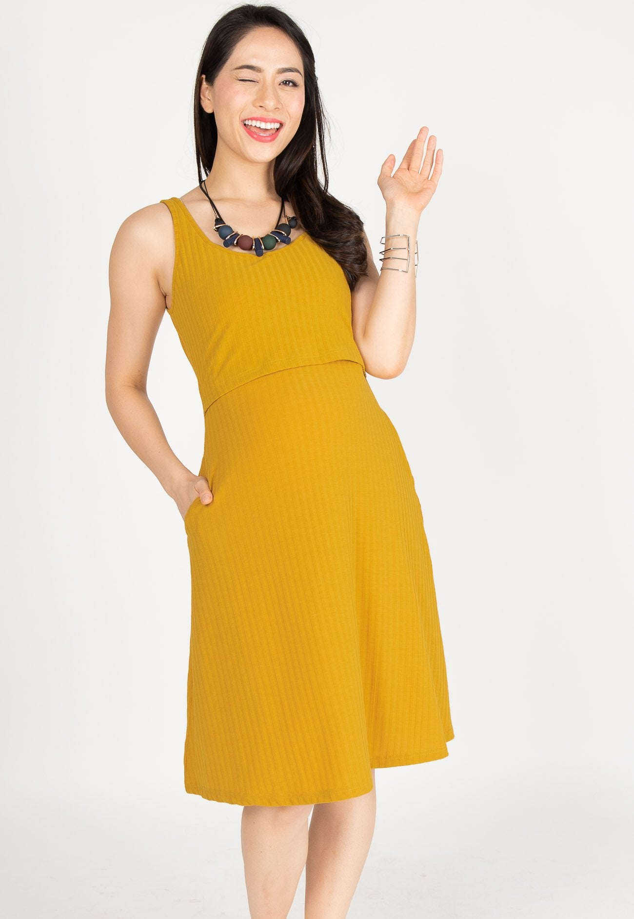 6258bcb826 ... Knitted Nursing Swing Dress in Yellow by Jump Eat Cry - Maternity and  nursing wear ...