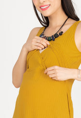 Knitted Nursing Swing Dress in Yellow  by JumpEatCry - Maternity and nursing wear
