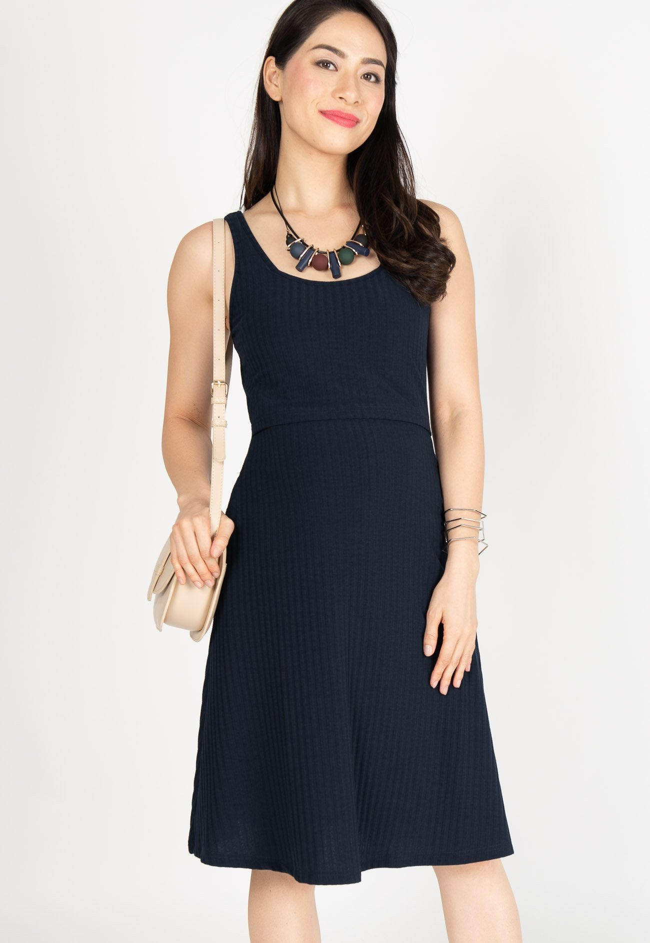 Knitted Nursing Swing Dress in Navy  by JumpEatCry - Maternity and nursing wear