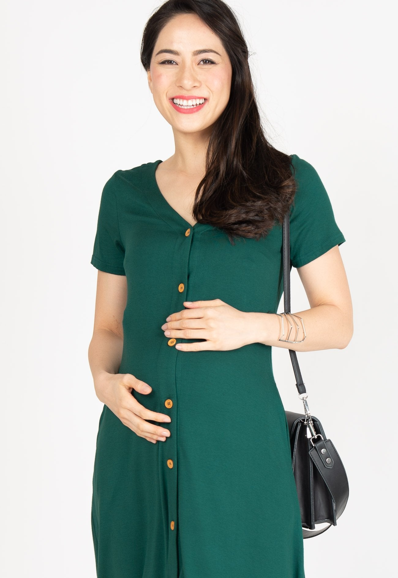 587fe328eb0b1 ... Lilith Button Nursing Dress in Forest Green by Jump Eat Cry - Maternity  and nursing wear ...