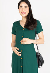 Lilith Button Nursing Dress in Forest Green  by JumpEatCry - Maternity and nursing wear