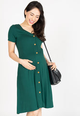 Lilith Button Nursing Dress in Forest Green  by Jump Eat Cry - Maternity and nursing wear