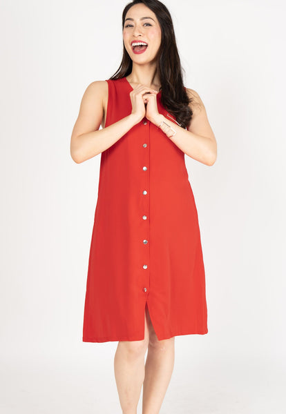 Understated Girlboss Nursing Dress in Chilli Red