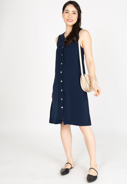 Understated Girlboss Nursing Dress in Navy