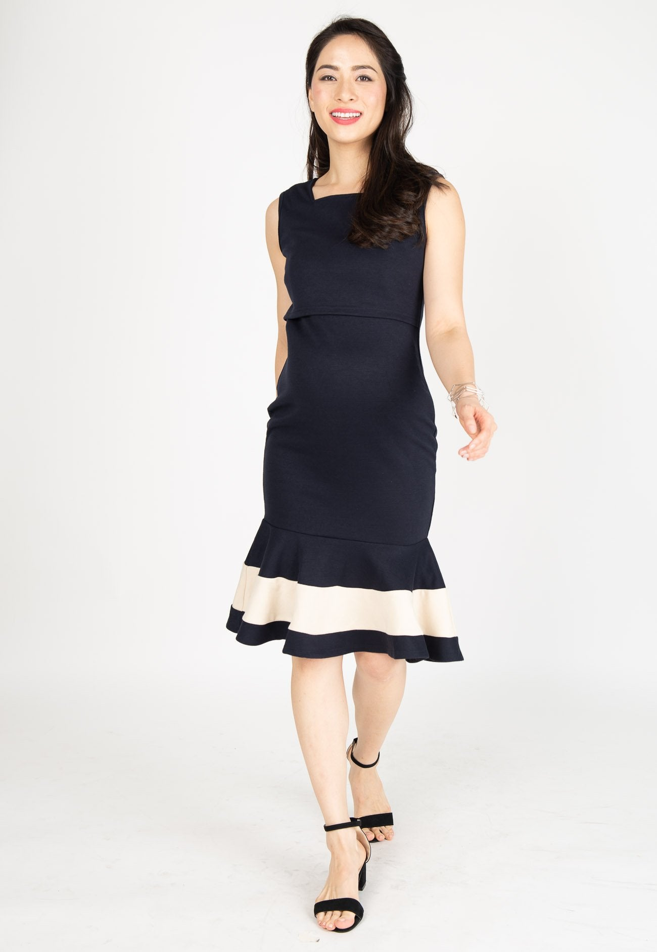 Vesper Mermaid Nursing Dress in Navy Nursing Wear Mothercot