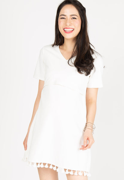 V Neckline Pompom Nursing Dress