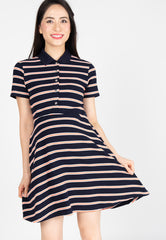 Nona Stripes Nursing Dress in Orange  by Jump Eat Cry - Maternity and nursing wear