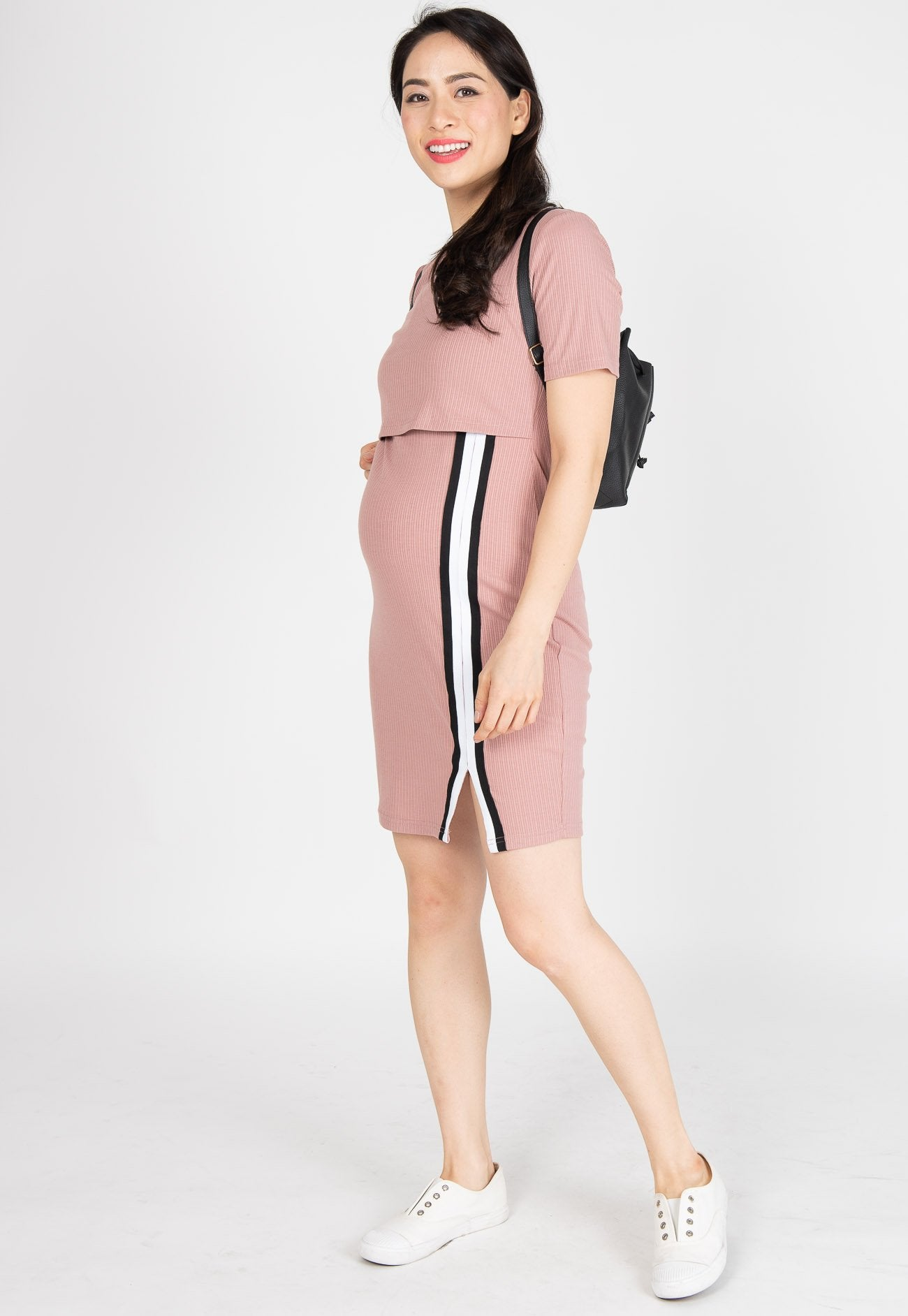 Go-Getter Bodycon Nursing Dress in Pink  by Jump Eat Cry - Maternity and nursing wear