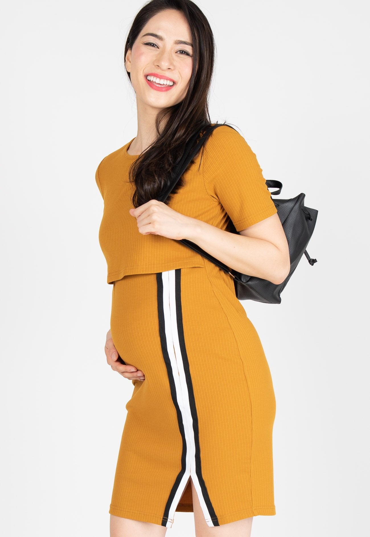 Go-Getter Bodycon Nursing Dress in Yellow  by Jump Eat Cry - Maternity and nursing wear