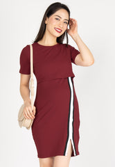 Go-Getter Bodycon Nursing Dress in Red  by Jump Eat Cry - Maternity and nursing wear