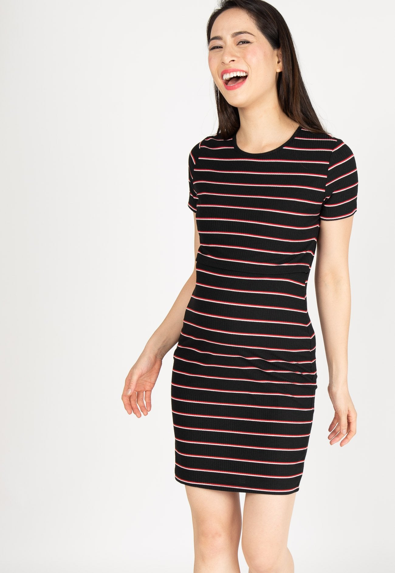 Sporty Stripes Nursing Dress in Black
