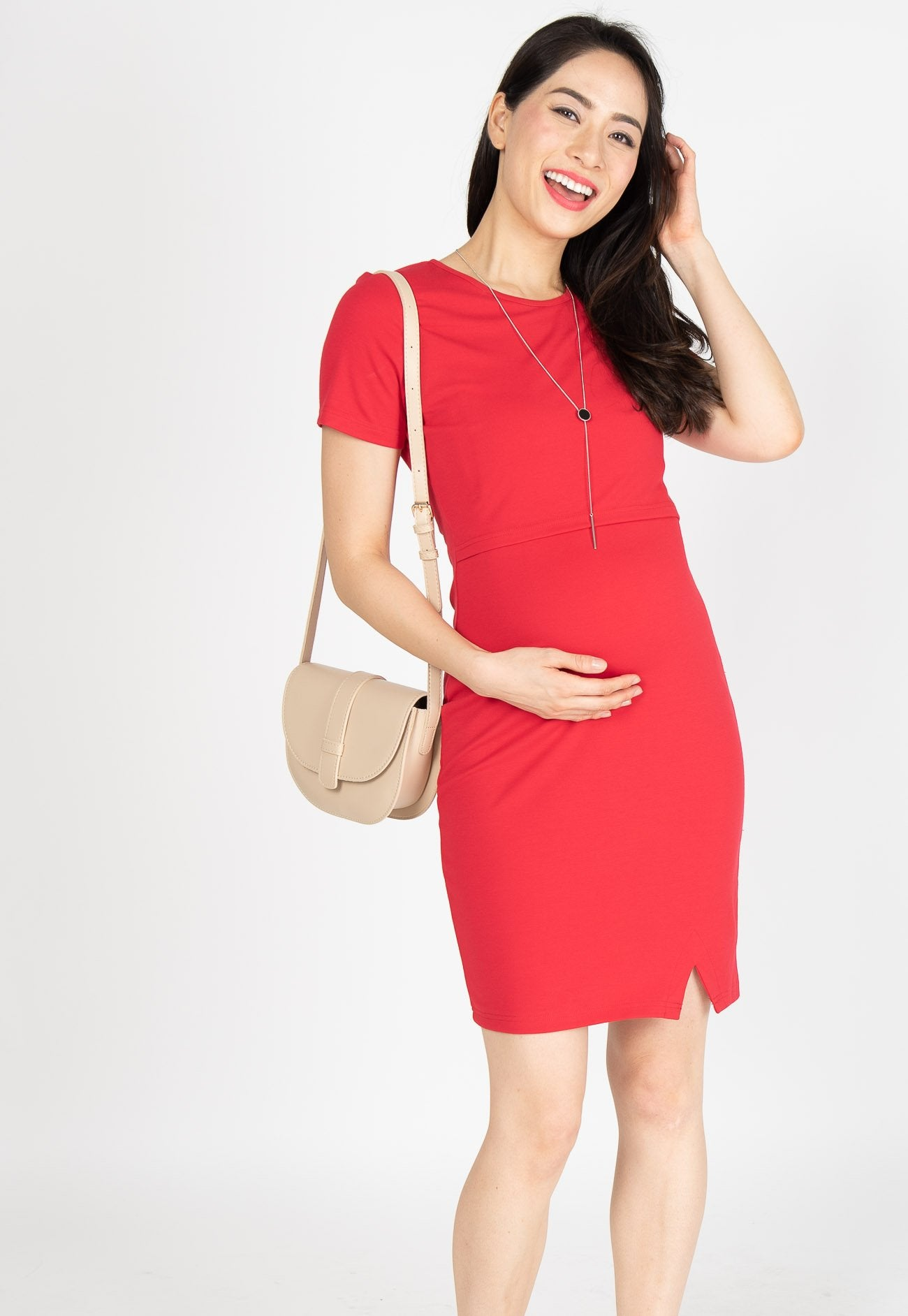 Ready To Go Nursing Dress in Red Nursing Wear Mothercot