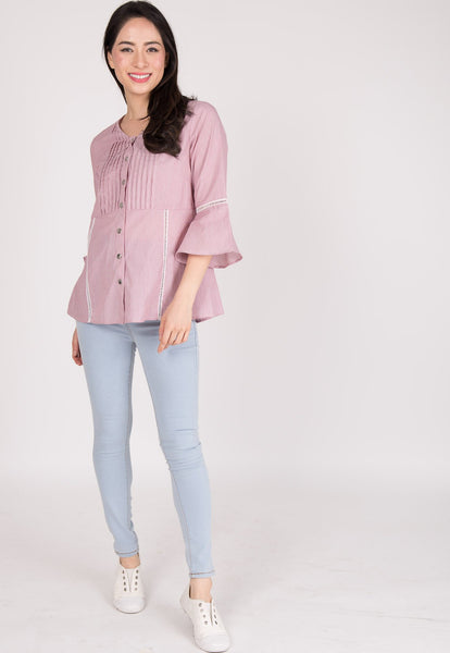 Cotton Pinstripe Nursing Top in Red
