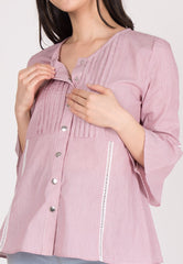 Mothercot Cotton Pinstripe Nursing Top in Red  by JumpEatCry - Maternity and nursing wear