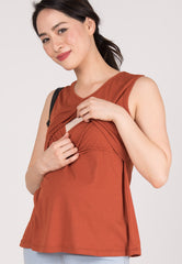 V Neckline Nursing Top in Rust