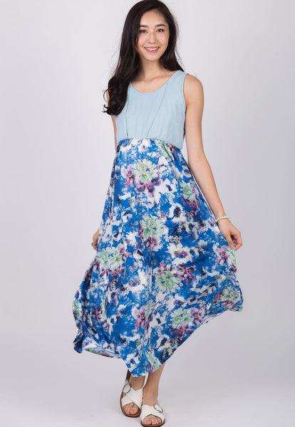 Blue Sweet and Flirty Nursing Dress