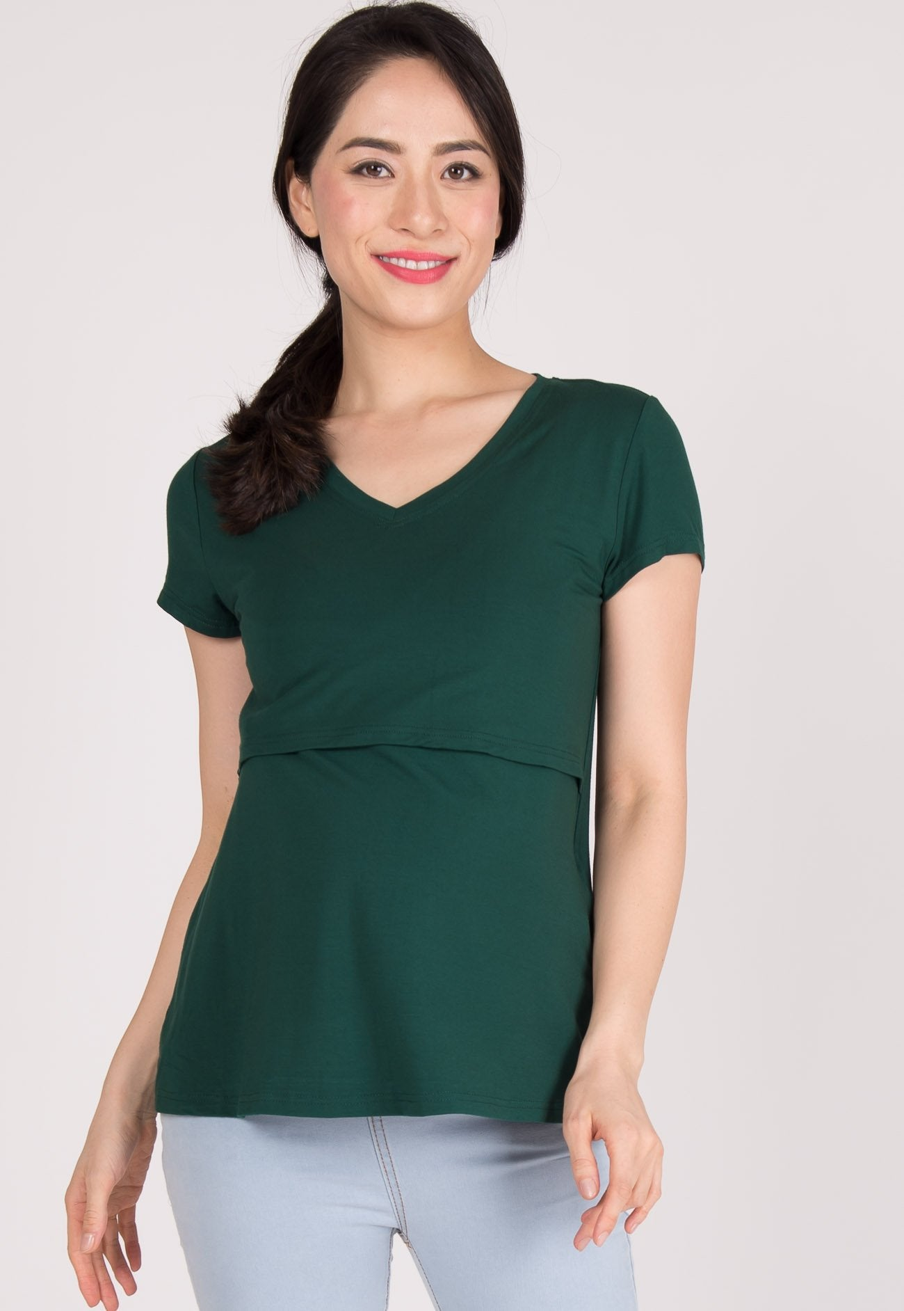 b2ae446d869 ... Cerys Fitted Nursing Tee in Green by Jump Eat Cry - Maternity and nursing  wear ...