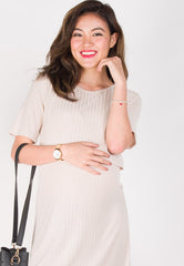 Orion Ribbed Knitted Nursing Dress in Cream Nursing Wear Mothercot