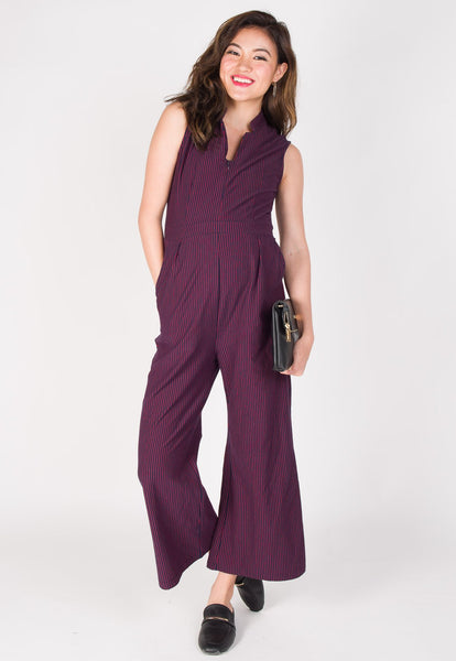Leda Slim Fit Nursing Jumpsuit in Red