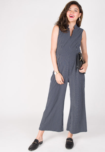 Leda Slim Fit Nursing Jumpsuit in Navy
