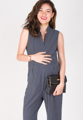 Leda Slim Fit Nursing Jumpsuit in Navy  by Jump Eat Cry - Maternity and nursing wear