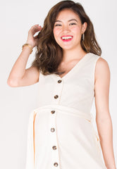Believe You Can Nursing Dress in Cream  by Jump Eat Cry - Maternity and nursing wear