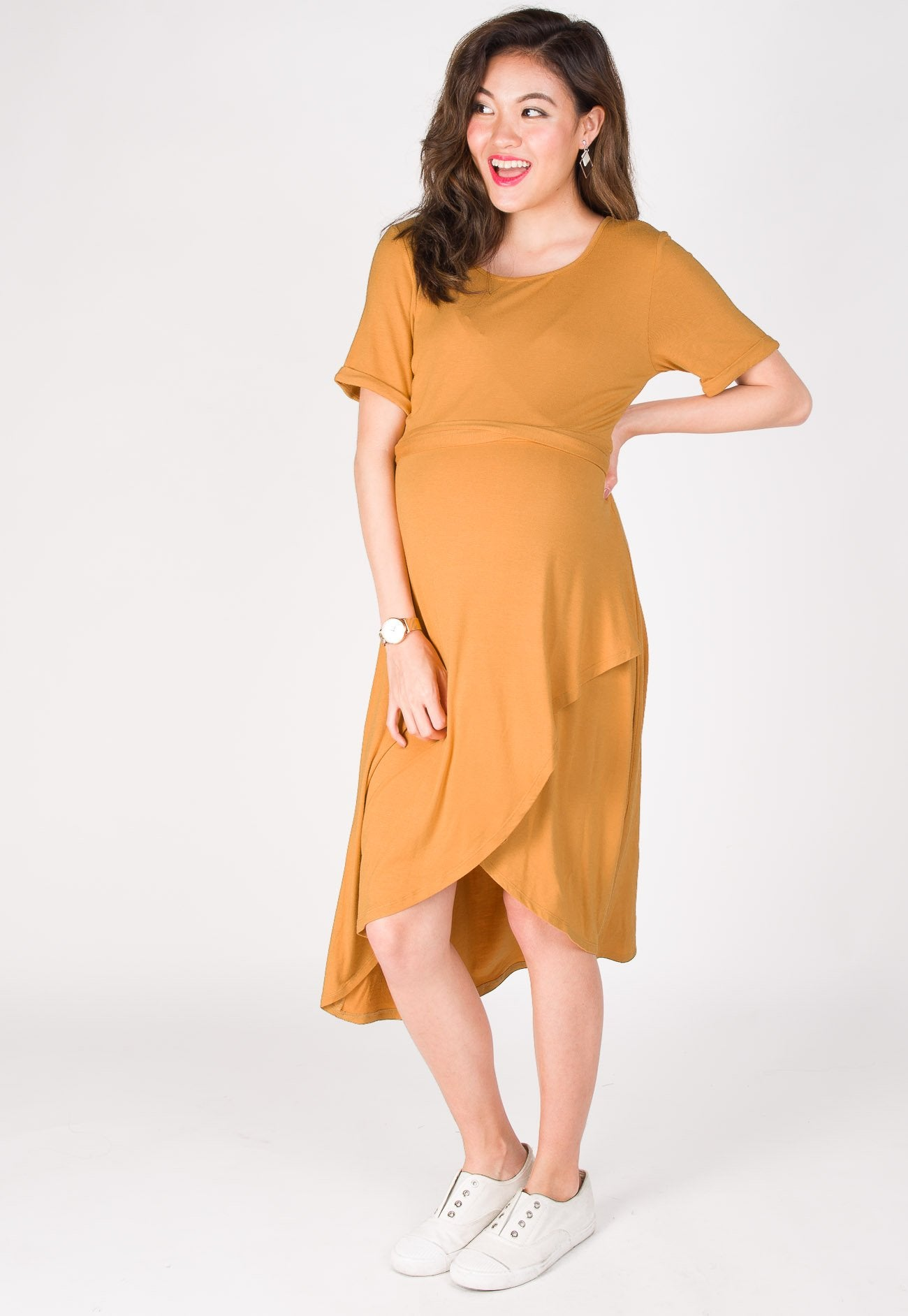 Belted Nursing Tee Shirtdress in Yellow  by Jump Eat Cry - Maternity and nursing wear
