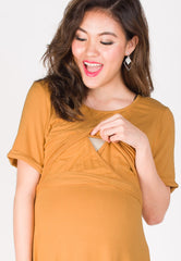 Belted Nursing Tee Shirtdress in Yellow  by JumpEatCry - Maternity and nursing wear