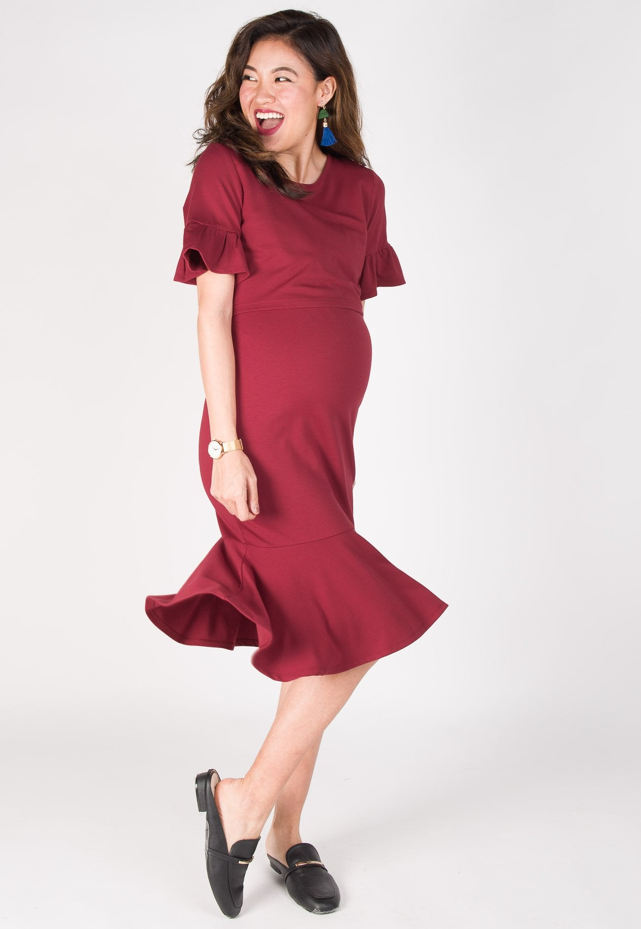 035f01ff814 ... Ruffle Peplum Nursing Dress in Red by Jump Eat Cry - Maternity and nursing  wear ...