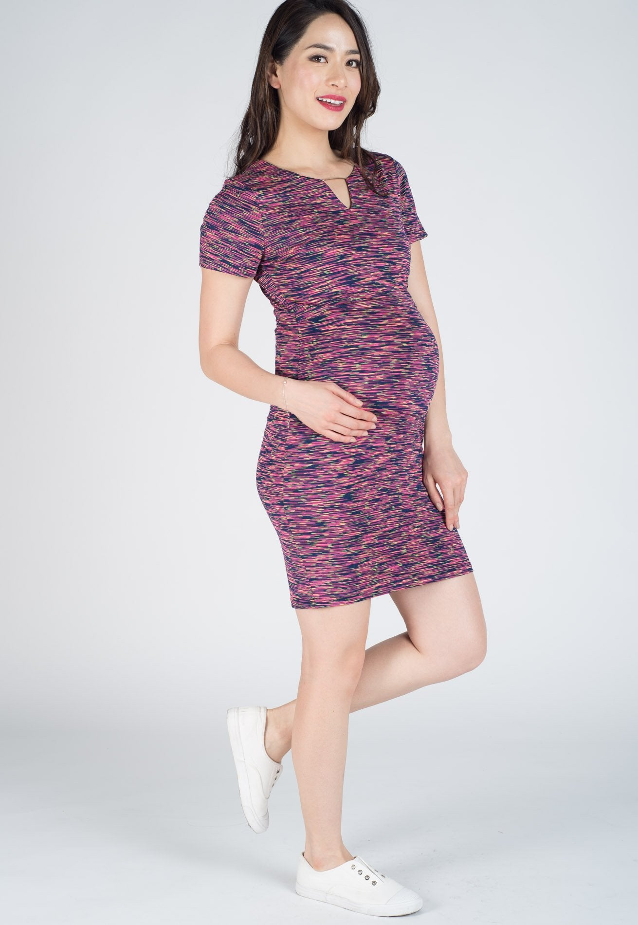 Mothercot Issa Dark Rainbow Bodycon Nursing Dress  by JumpEatCry - Maternity and nursing wear