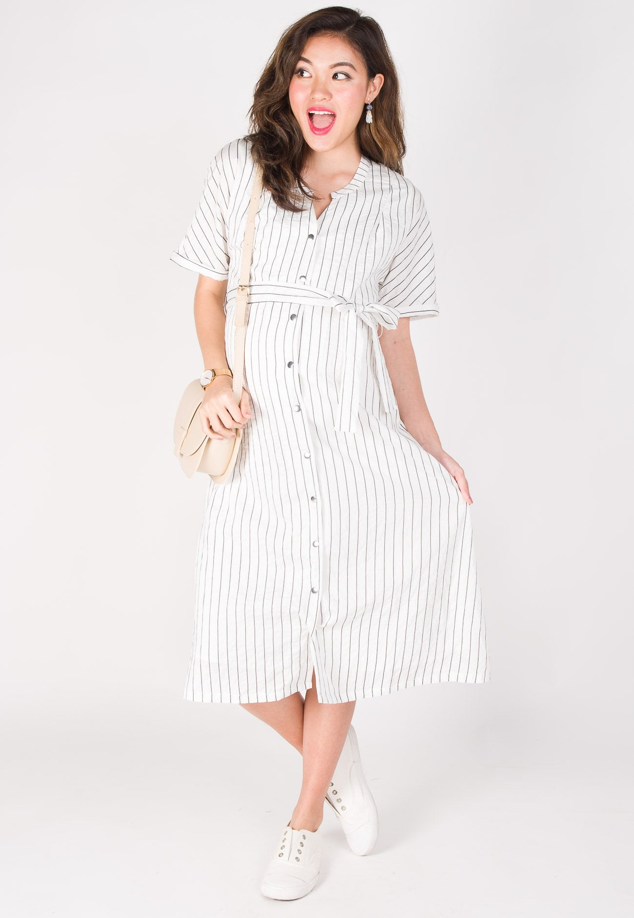 9f0d95284d ... Lilith Striped Nursing Dress in White by Jump Eat Cry - Maternity and nursing  wear ...