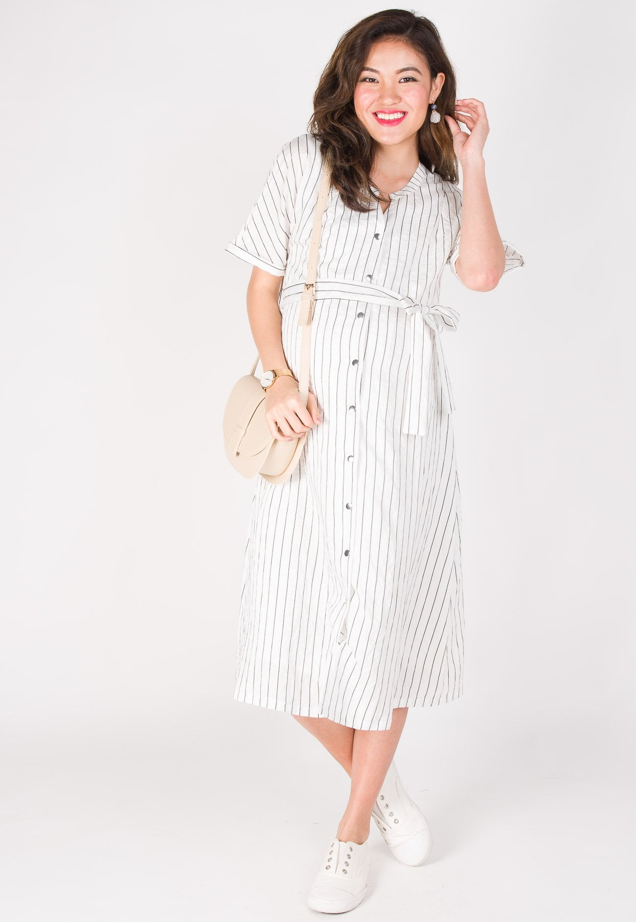 Lilith Striped Nursing Dress in White  by JumpEatCry - Maternity and nursing wear