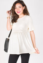 Ruffle It Up Nursing Top in Cream  by Jump Eat Cry - Maternity and nursing wear