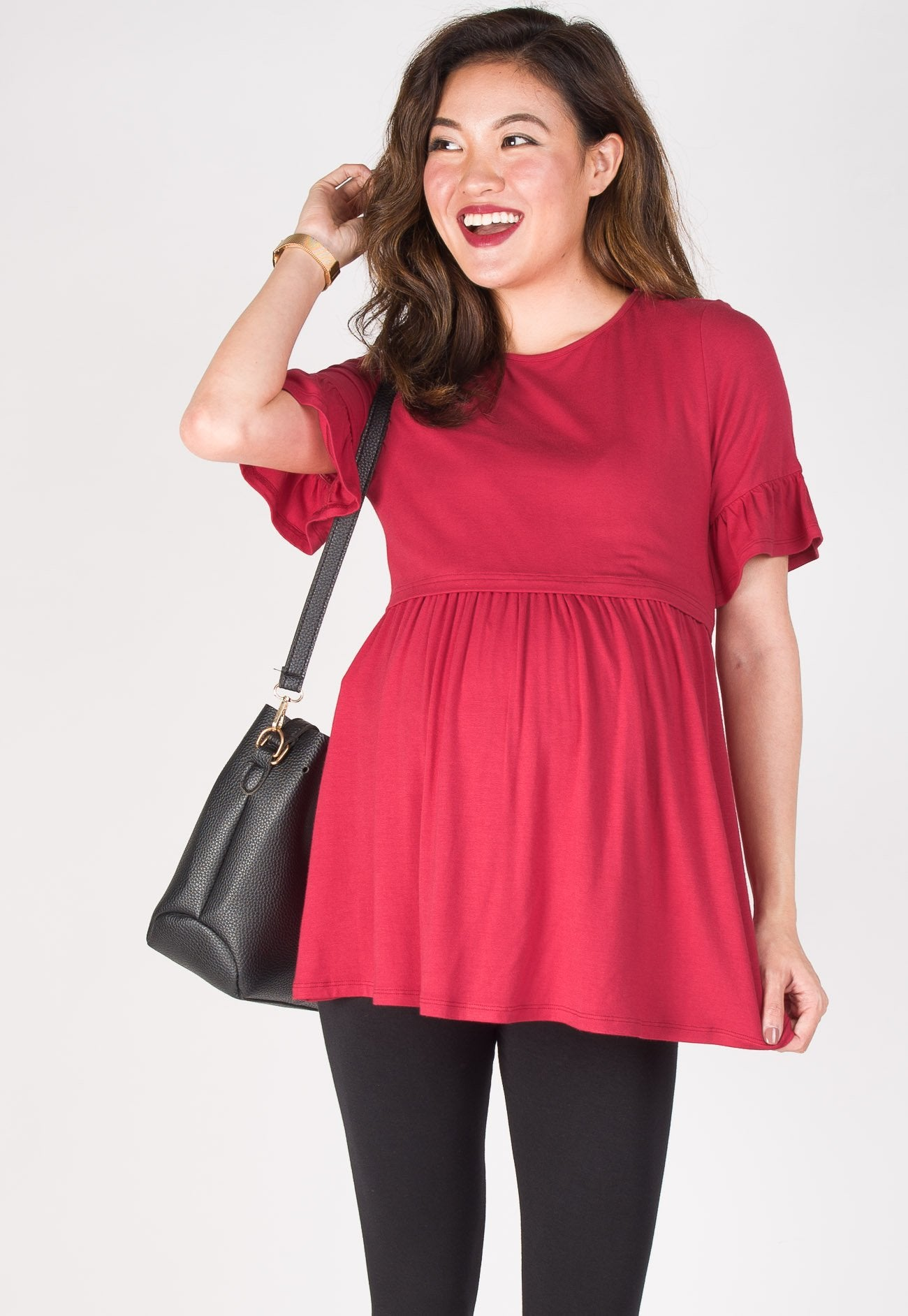 Ruffle It Up Nursing Top in Red  by Jump Eat Cry - Maternity and nursing wear