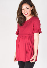 Ruffle It Up Nursing Top in Red  by JumpEatCry - Maternity and nursing wear