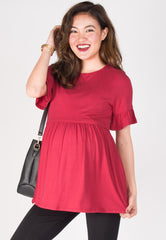Ruffle It Up Nursing Top in Red Nursing Wear Mothercot