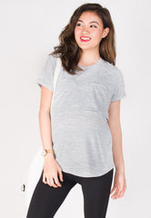 Keep It Cool Nursing Top in Light Grey  by Jump Eat Cry - Maternity and nursing wear