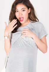 Keep It Cool Nursing Top in Light Grey  by JumpEatCry - Maternity and nursing wear