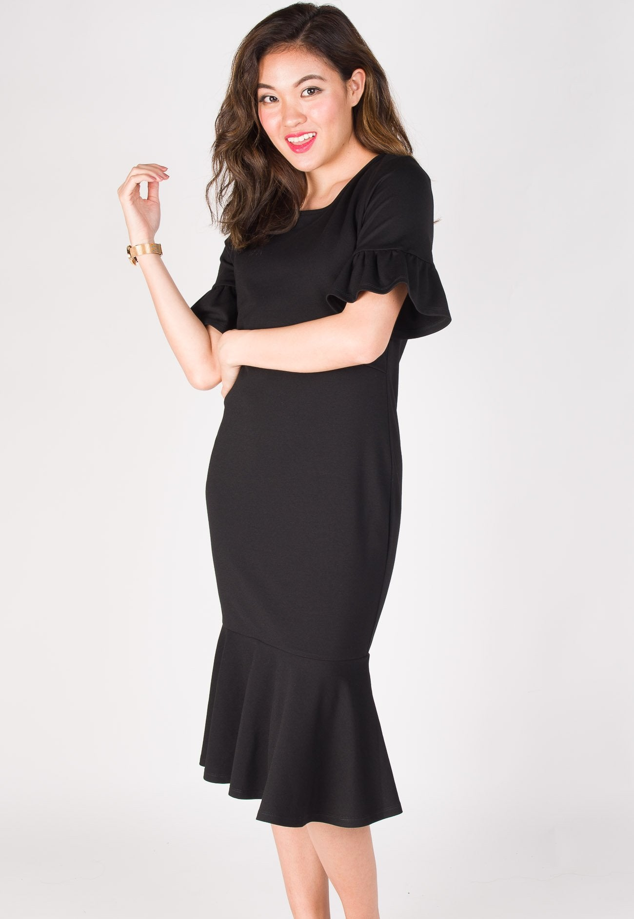 8285d002464 ... Ruffle Peplum Nursing Dress in Black by Jump Eat Cry - Maternity and nursing  wear ...