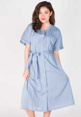 Lilith Striped Nursing Dress in Light Blue  by Jump Eat Cry - Maternity and nursing wear