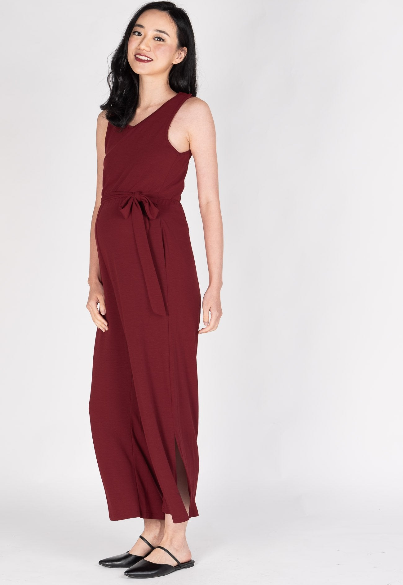 Dhara Side Slit Nursing Jumpsuit in Red  by Jump Eat Cry - Maternity and nursing wear